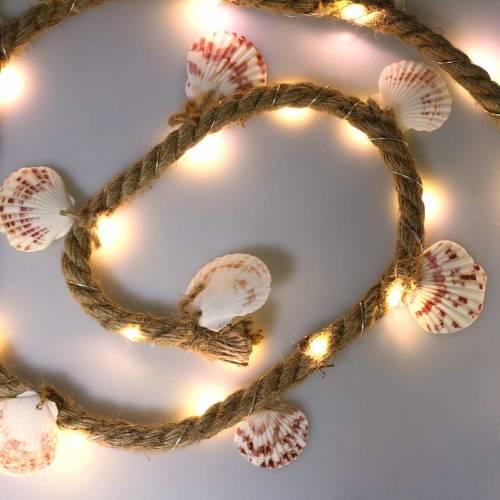 Jute koord met schelpen en LED 200cm decoratief visrestaurant