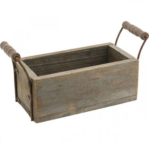 Planter, decoratieve doos, houten kist met handvatten, Shabby Chic knutseldoos L25cm H10cm