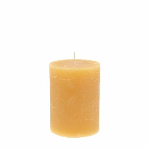 Gekleurde kaarsen honingkleurig 60 × 80mm 4st