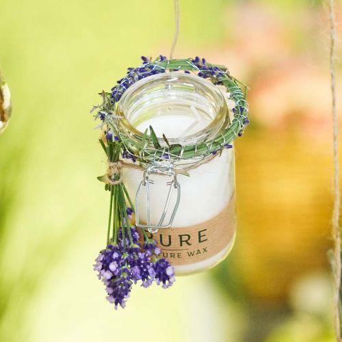 Kaars in een glazen decoratie met deksel Pure Nature wax kaars bijenwas olijfolie