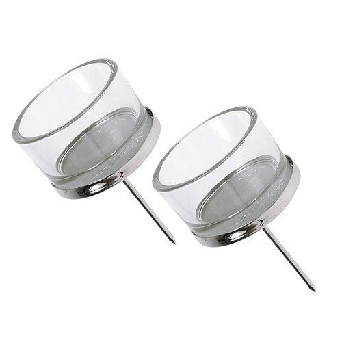 Kandelaar met glas zilver 4st