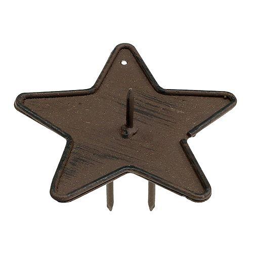 Kandelaar ster om op te plakken 9cm bruin