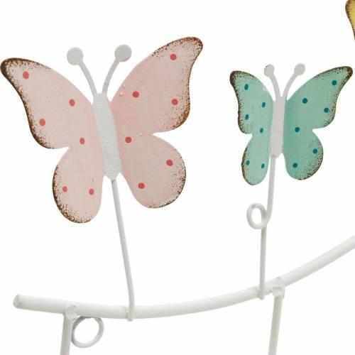 Lentedecoratie, hakenrail met vlinders, metalen decoratie, decoratieve kleerkast 36cm