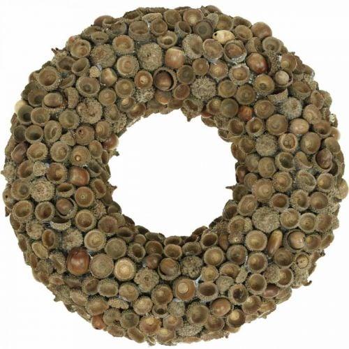 Herfstdecoratie krans van eikels naturel krans Ø30cm