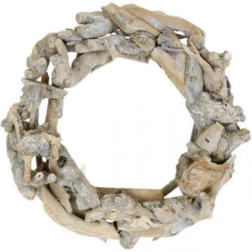 Decoratieve krans hout wortel krans wit gewassen Ø35cm H9cm