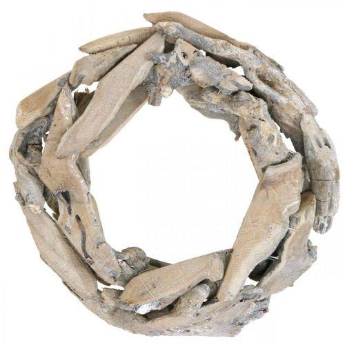 Houten krans wortelhout, white wash decoratiekrans Ø30cm H8cm