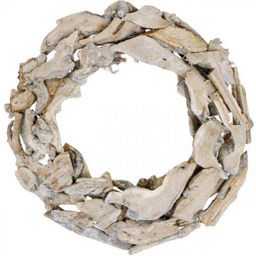 Houten krans wortels en takken White wash decoratieve krans Ø40cm H9cm