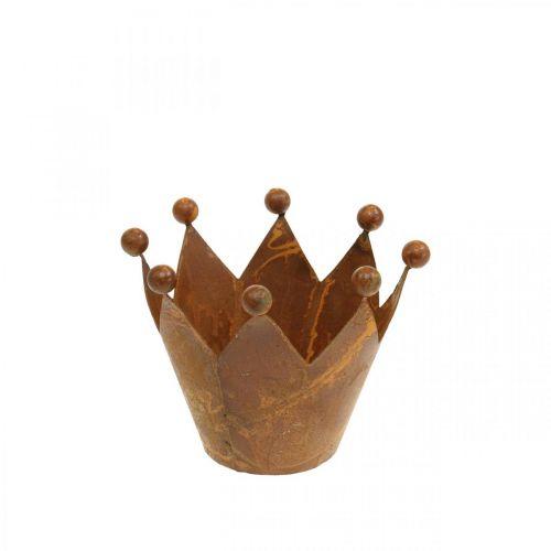 Decoratief windlicht, metalen kroon, theelichthouder RVS H6.5cm Ø4cm
