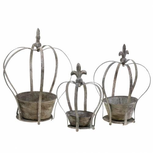 Decoratieve kroon antiek grijze plantenbak 3st