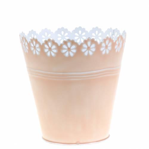 Planter bloemornament roze Ø12,5cm H13,5cm