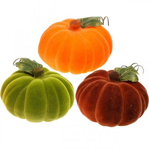 Decoratief pompoen flocked mix oranje, groen, rood herfstdecoratie 16cm 3st