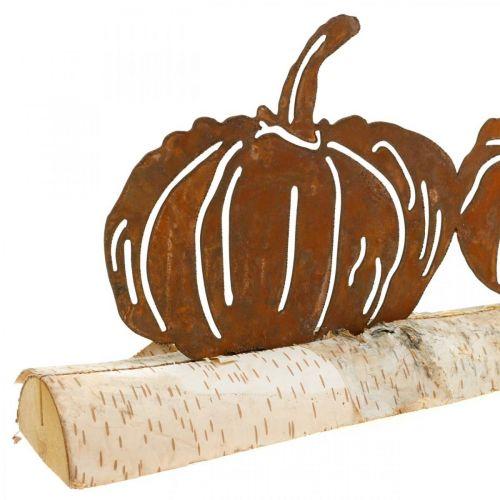 Pompoenen roest en schors metalen decoratie op berkenhout 20 × 5cm H9cm