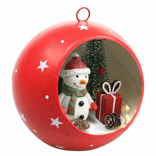 Kerstbal om sneeuwpop en LED rood op te hangen Ø14cm Voor batterijen