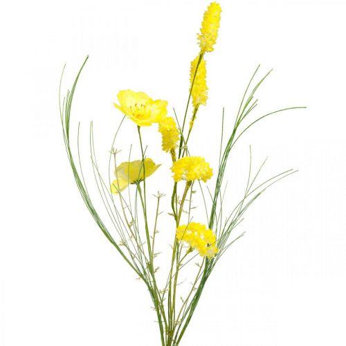 Kunstboeket geel, klaproos en struik ranonkel in een bos, zijden bloemen, lentedecoratie L45cm