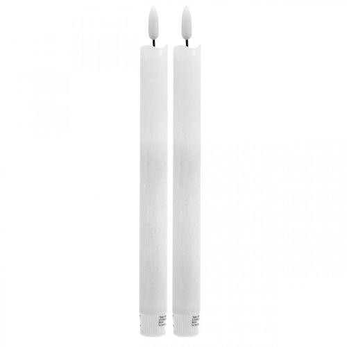 LED kaarsvet tafelkaars warm wit Voor batterij Ø2cm 24cm 2st