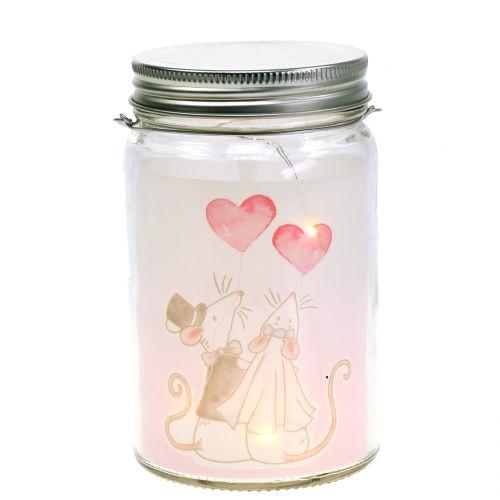LED lantaarn glas bruid en bruidegom Ø8cm H14cm