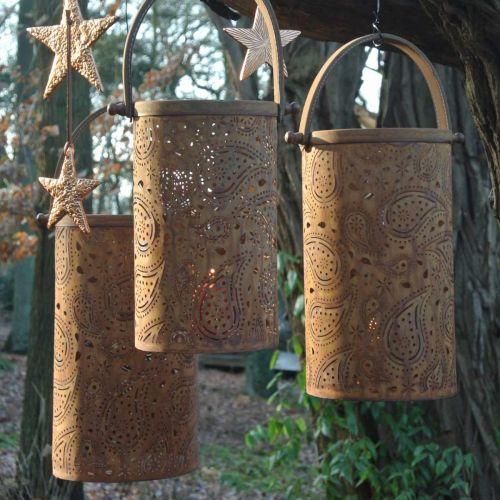 Metalen lantaarn met patina, zomerdecoratie, lantaarnset met paisleypatroon Ø20 / 19 / 14cm H23.5 / 17 / 12.5cm