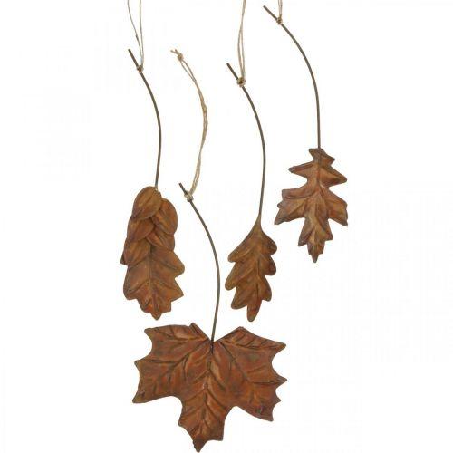Bladeren metaal om op te hangen roestbruine herfstbladeren 7,5-10cm 4st