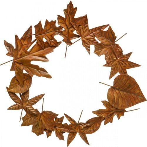 Bladkrans, edele roest, metalen decoratie, krans, herfstdecoratie, herdenkingsbloemwerk Ø29cm