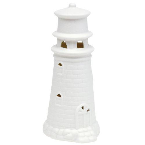 Vuurtoren met LED 17,5 cm wit mat