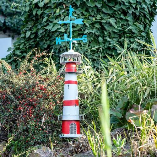 Vuurtoren rood wit met windwijzer 90cm