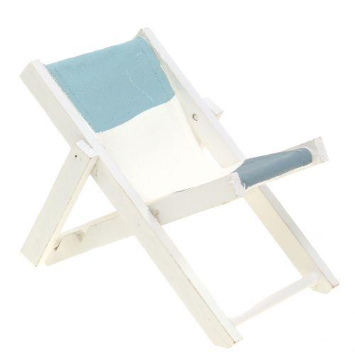 Decoratieve ligstoel wit-blauw-grijs H10cm