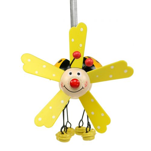 Windgong lieveheersbeestje hout geel 12cm