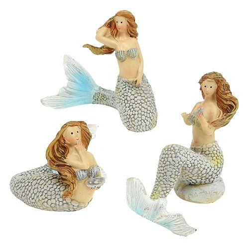 Decoratief figuur zeemeermin blauw 6cm - 9.5cm 3st