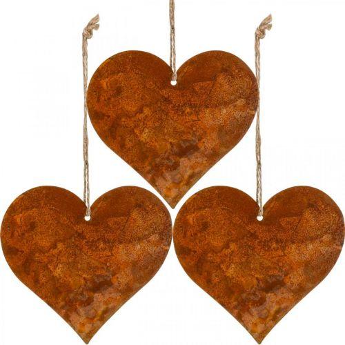 Harten om op te hangen, herfst, metalen decoratie patina 9,5 × 10 × cm 12st