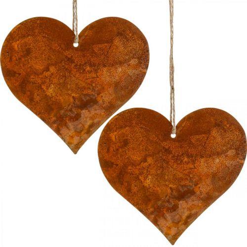 Decoratieve harten van metaal, herfstdecoraties, decoratieve hangers, roestvrij staal 14 × 15cm 6st