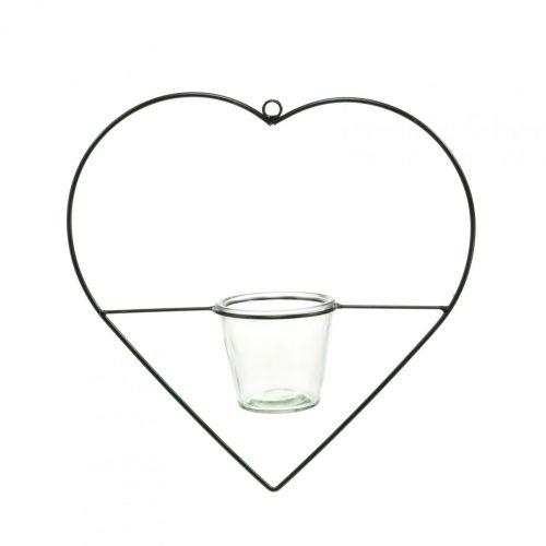 Windlicht hart metaal 28cm waxinelichthouder voor hangend glas 9cm