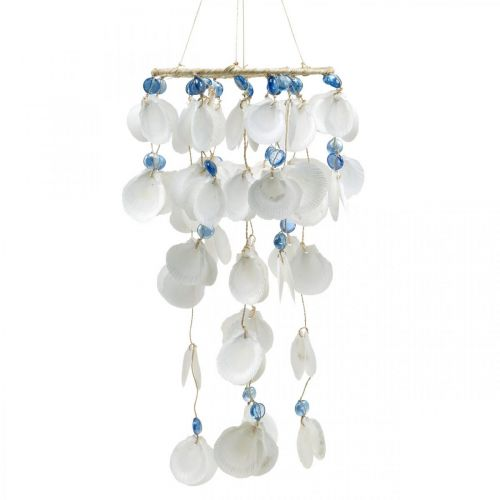 Mobiele zeeschelpen windgong maritieme decoratie om op te hangen wit, blauw 46cm