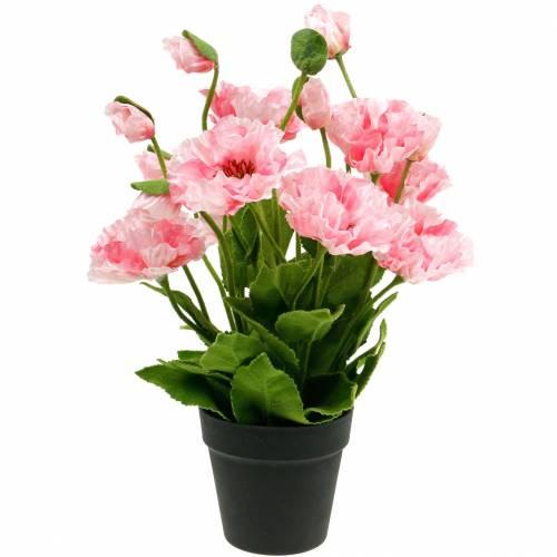 Oosterse papaver, kunstbloem, papaver in roze pot