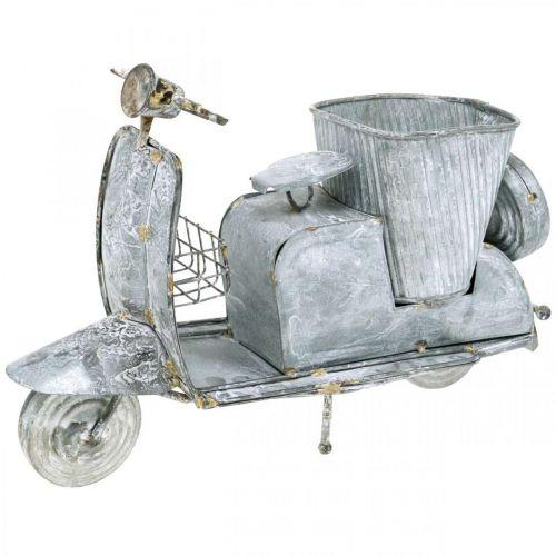 Bloempot motorscooter metaal vintage white wash 35×12×23cm