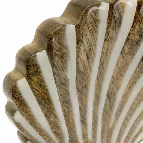 Schelp met voet hout wit, naturel 20 × 14cm Maritieme decoratie voor de woonkamer