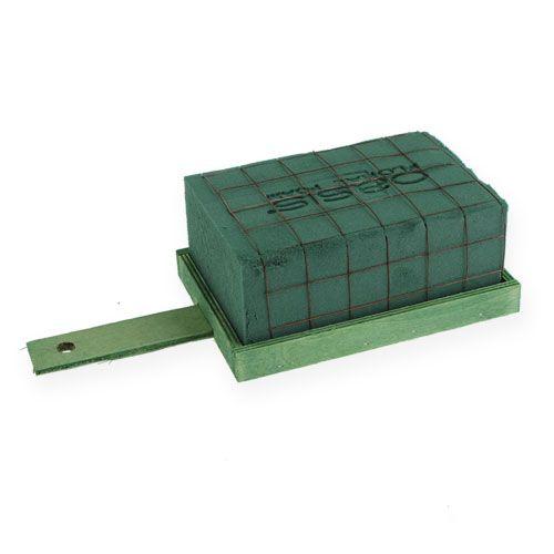 Steekschuim baksteen groen metaal hout 4-delig arrangement onderlaag