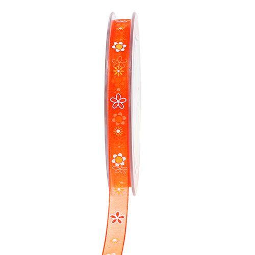 Organza lint oranje met patroon 10mm 20m