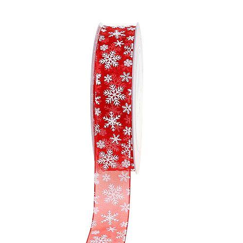Organza lint kerst rood 25mm 20m