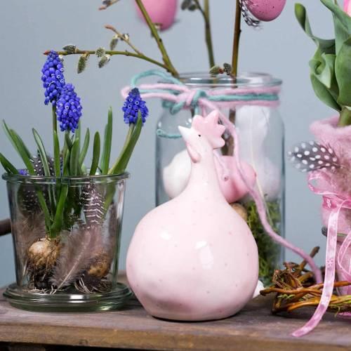 Paasdecoratie kip roze met stippen H17cm 2st