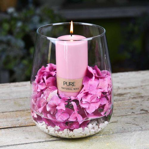 PURE stompkaars 130/70 Roze decoratieve kaars duurzame natuurlijke was