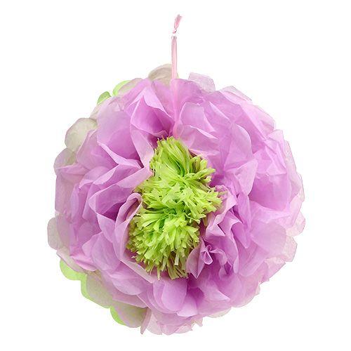 Papieren bloem Ø28cm om groen-paars op te hangen
