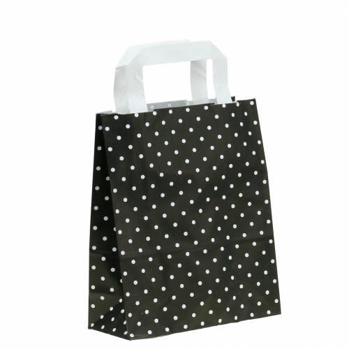 Papieren zak zwart met stippen 22cm x 10cm x 31cm 25st
