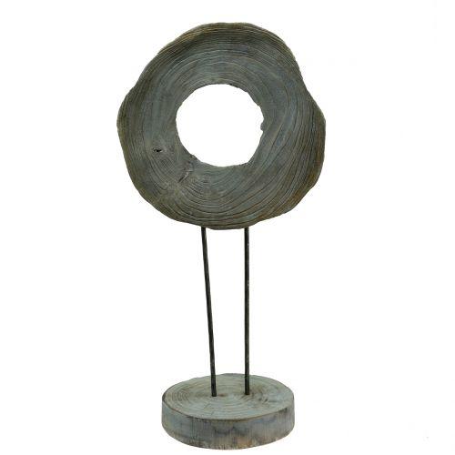 Decoratief beeld gemaakt van Paulownia-hout gewassen grijs H60cm