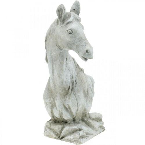 Paardenkop buste deco figuur paard keramiek wit, grijs H31cm