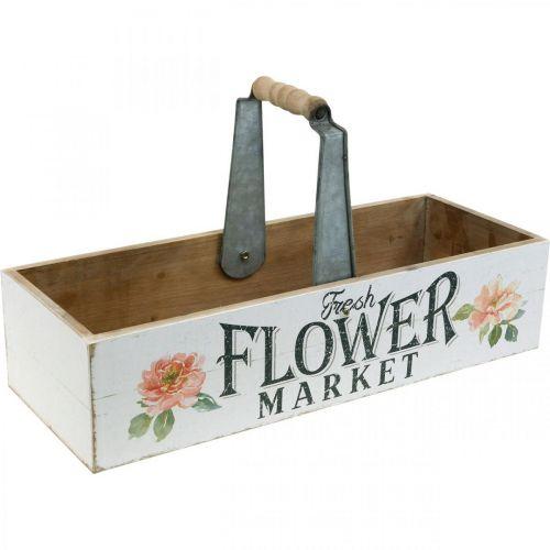 Plantenbak, bloemdecoratie, houten kist om te planten, bloembak nostalgische look 41,5 × 16cm
