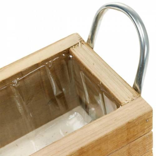 Houten plantenbak met handvatten 23,5 × 12 cm naturel houten kist