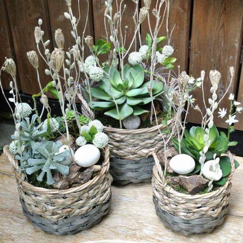 Plantenmand, gevlochten mand voor opplant, ronde bloemenmand naturel, grijs Ø29 / 23,5 / 18cm, set van 3