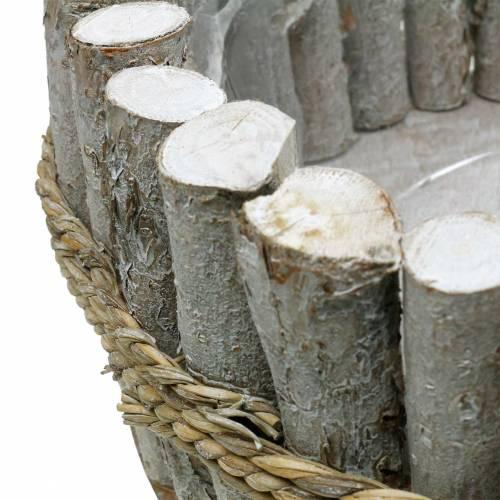 Plantenbak gemaakt van takken Ø33cm H13cm