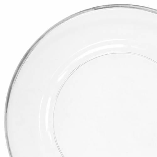 Decoratief bord met zilveren rand doorzichtig plastic Ø33cm