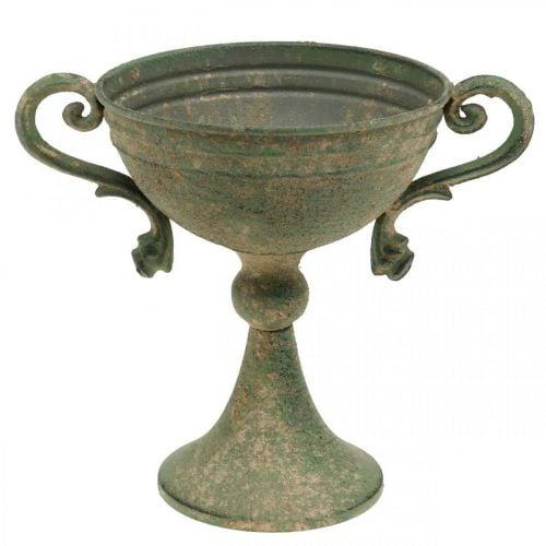 Beker met handvatten, metalen beker, amfora voor planten Ø14cm H18cm